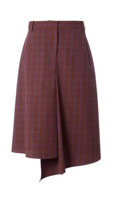 Tibi Menswear Check Drape Pencil Skirt