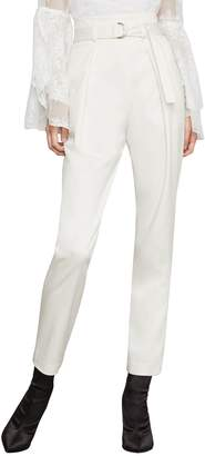 BCBGMAXAZRIA Belted Pleat-Front Straight-Leg Ankle Pants