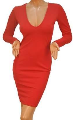 Bankair Sexy Women Bandage Bodycon Long Sleeve Evening Party Red Slim Pencil Dress