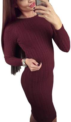 Simplee Apparel Women's Long Sleeve Ribbed Knitted Bodycon Mid Length Split Sweater Dress