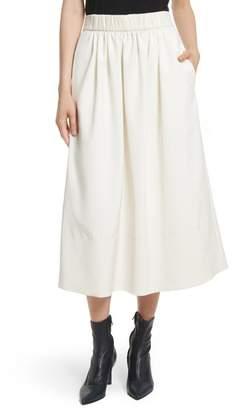 Tibi Stretch Faille Full Midi Skirt
