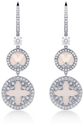 Treasure Empress 18ct White Gold Mother of Pearl and 1.41cttw Diamond Carriage Earrings