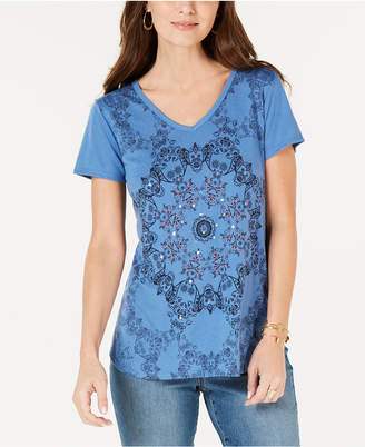 Style&Co. Style & Co Floral Graphic-Print T-Shirt