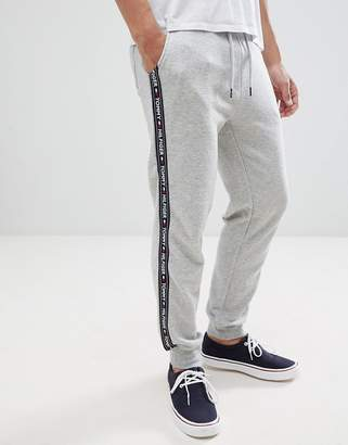b55267a2 Tommy Hilfiger authentic cuffed lounge joggers side logo taping in grey marl