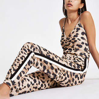 River Island Brown brushed leopard print tape jumpsuit