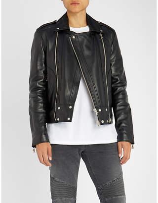 Balmain Two-way zip-fastening leather jacket