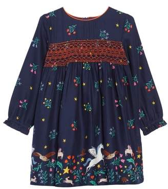 Boden Mini Long Sleeve Smocked Dress