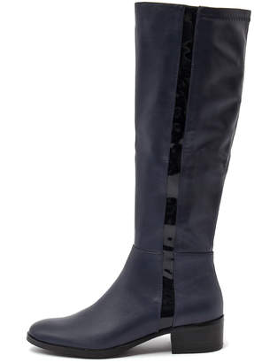 Django & Juliette Terri Navy Boots Womens Shoes Casual Long Boots