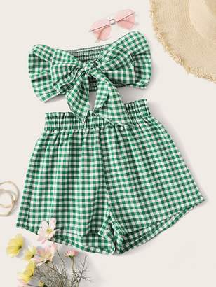 Shein Gingham Print Knot Shirred Bandeau Top and Shorts Set