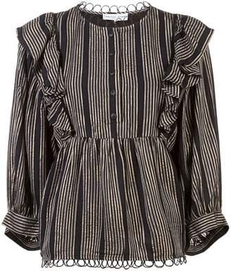 Apiece Apart stripe ruffle flared blouse