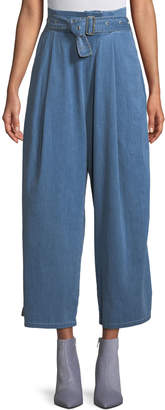 J Brand Via Belted Pleated Wide-Leg Pants