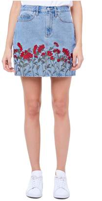 Juicy Couture Floral Embroidered Denim Skirt