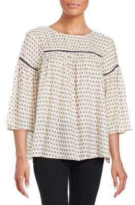 French Connection Geometric Peasant Top