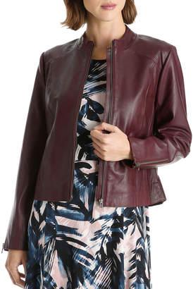 Basque Zip Thru Leather Jacket