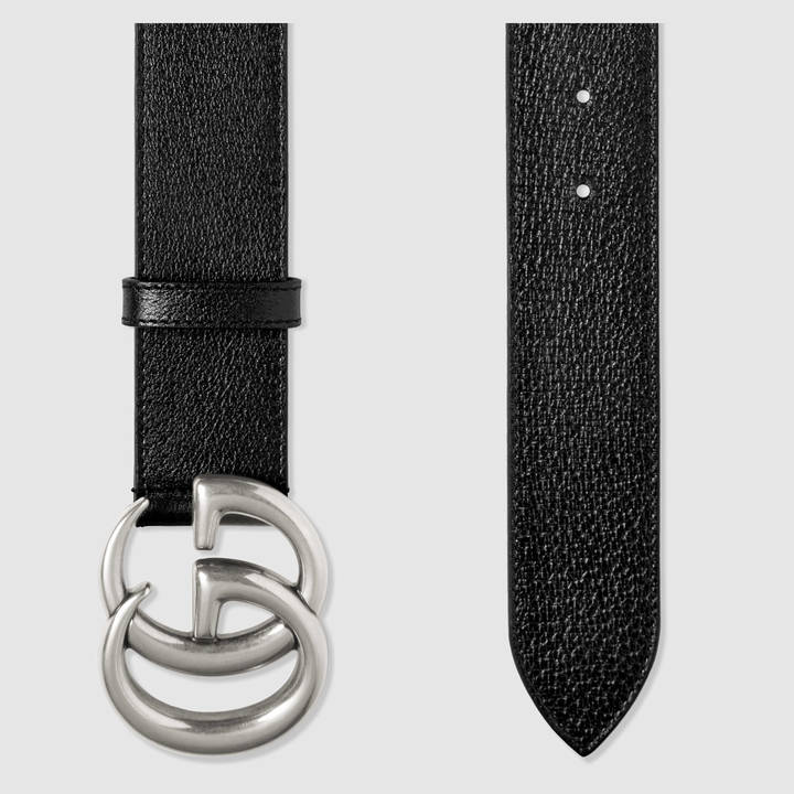 Leather belt with double G buckle 18