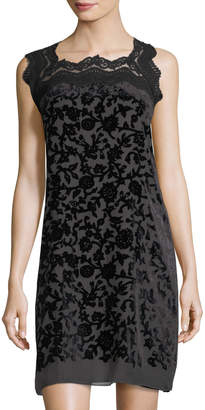 Max Studio Velvet-Embroidered Sleeveless Dress