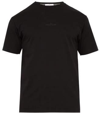 Stone Island Logo Printed Cotton Jersey T Shirt - Mens - Black