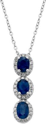 Sapphire & 1/3 Carat T.W. Diamond 14k White Gold Oval Halo 3-Stone Pendant Necklace