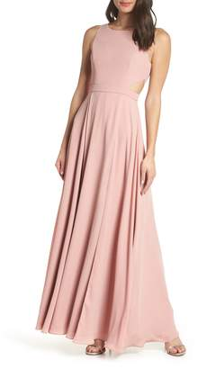 Fame & Partners Side Cutout Jewel Neck Evening Dress