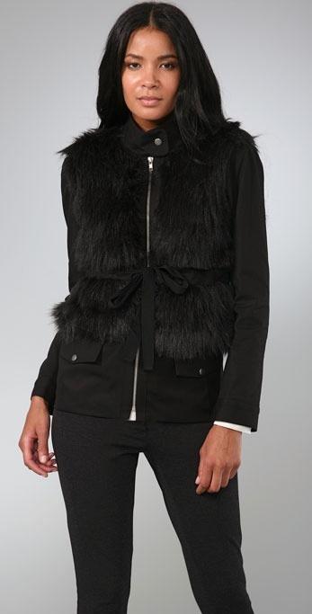 Loeffler Randall Faux Fur Military Jacket