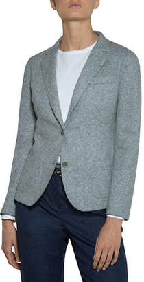 Eleventy Relaxed Stretch-Wool Blazer Jacket