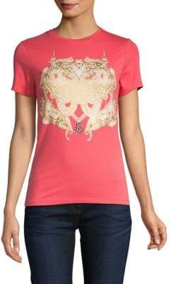 Roberto Cavalli Metallic Crest Graphic T-Shirt