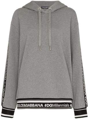 Dolce & Gabbana logo piped sleeve hoodie
