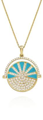 N. NeverNoT Neon Turquoise Enamel Diamond SHOW TELL Necklace - Yellow Gold
