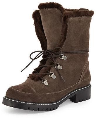 Stuart Weitzman Luge Faux-Fur Hiker Boot, Lead $498 thestylecure.com