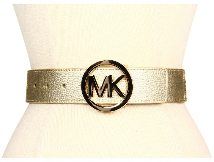 MICHAEL Michael Kors 1 5/8 MK Logo Buckle With Sequin Panel (Gold) - Apparel