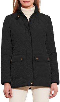 Lauren Ralph Lauren Faux Leather Trim Quilted Jacket $160 thestylecure.com