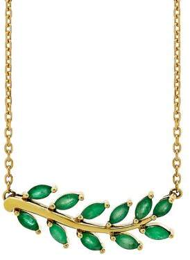 Lord & Taylor Emerald and 14K Yellow Gold Leaf Necklace