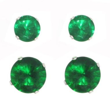 Emerald Color Silver Birthstone 2-Pair Set