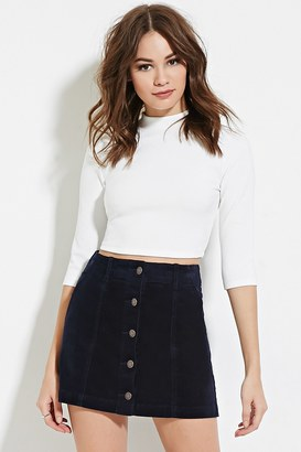 FOREVER 21+ Corduroy Buttoned Skirt $19.90 thestylecure.com