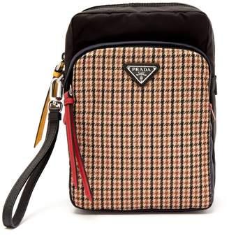 Prada Tweed-detailed nylon camera bag