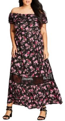 Plus Size Women's City Chic Free Love Floral Off The Shoulder Maxi Dress $82.99 thestylecure.com