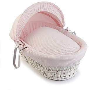 Clair De Lune Waffle White Wicker Moses Basket - Cream