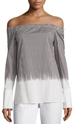Lafayette 148 New York Amy Striped Off-The-Shoulder Blouse $398 thestylecure.com