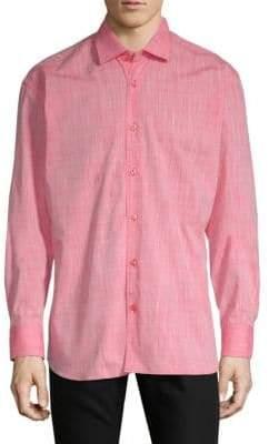 Tropical Cotton Button-Down Shirt