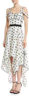 Self-Portrait Printed Star Sleeveless Handkerchief Cocktail Dress
