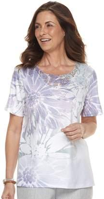 Alfred Dunner Women's Studio Floral Embellished Top