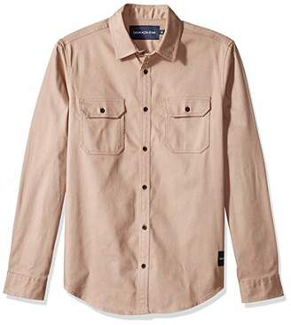Calvin Klein Jeans Men's Long Sleeve Button Down Utility Shirt with Chest Pockets