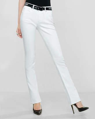 Express White Mid Rise Stretch Skyscraper Jeans