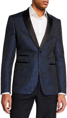 Neiman Marcus Men's Satin Shawl Collar Jacquard Blazer Dark Blue