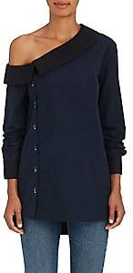 Monographie MONOGRAPHIE WOMEN'S COTTON POPLIN ONE-SHOULDER BLOUSE-MIDNIGHT BLUE SIZE XS