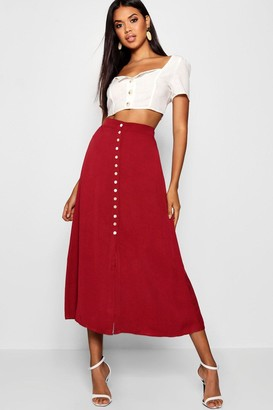 boohoo Small Button Detail Midi Skirt