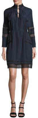 Derek Lam 10 Crosby Pintucked Silk Lace-Trim Dress, Midnight $495 thestylecure.com