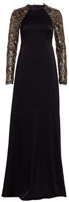 Rachel Zoe Miabella Sequin Long-Sleeve A-Line Gown