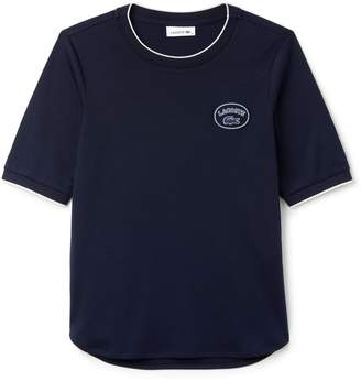 Lacoste Women's Crew Neck Piped Pima Cotton Interlock T-shirt
