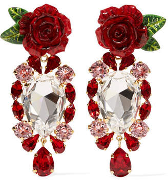 Dolce & Gabbana Gold-tone, Crystal And Resin Clip Earrings - Red